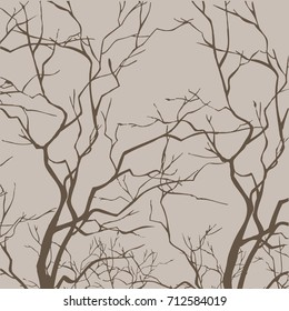 Bare Tree Branches - Vector.Creative vintage background.