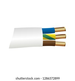 Bare wire icon. Simple electrical power three-core stripped cable. Close-up vector illustration.