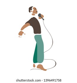 Barefoot black singer (preacher, showman,comedian)  with  a microphone . Profile view. Minimalist vector illustration. Isolated on white background.  Decorative element for web, flyer,poster,t-shirt.