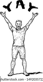 A barefoot smiling young man with his hand raised above his heads shouting Yay. Hand drawn vector illustration.