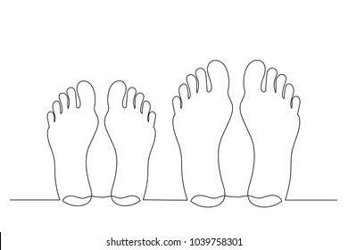 Barefooted feet are male and female. Lie on the beach. One line drawing isolated vector object by hand on a white background.