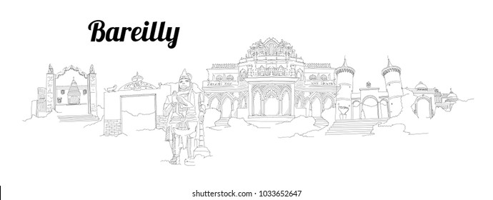 Bareilly city vector panoramic hand drawing sketch illustration