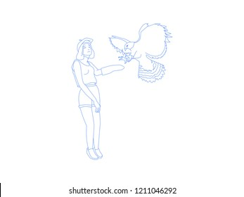 Baret girl with her eagle pet in line illustration style vector isolated