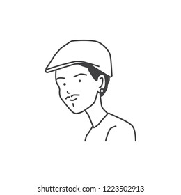 Baret hat man avatar cartoon illustration vector isolated