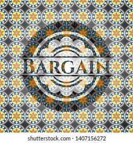 Bargain arabic badge. Arabesque decoration.