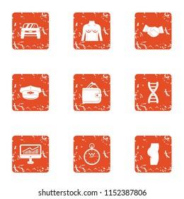 Bargain icons set. Grunge set of 9 bargain vector icons for web isolated on white background
