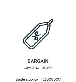 Bargain outline vector icon. Thin line black bargain icon, flat vector simple element illustration from editable law and justice concept isolated stroke on white background