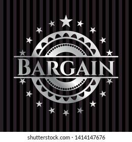 Bargain silvery badge or emblem. Vector Illustration. Mosaic.
