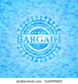 Bargain sky blue emblem with mosaic ecological style background