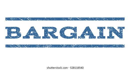 Bargain watermark stamp. Text tag between horizontal parallel lines with grunge design style. Rubber seal cobalt blue stamp with dust texture. Vector ink imprint on a white background.