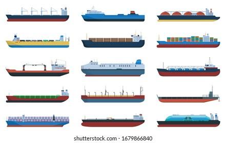 Barge vector cartoon set icon. Vector illustration cargo ship on white background. Cartoon set icon barge .