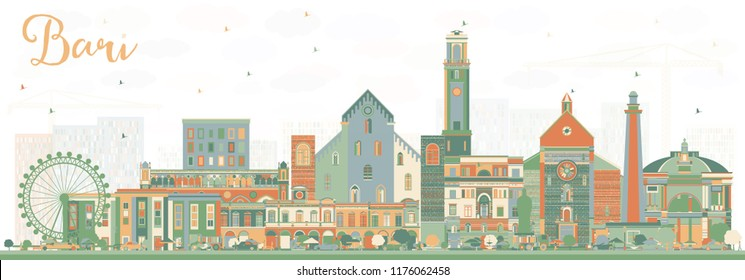 Bari Italy City Skyline with Color Buildings. Vector Illustration. Business Travel and Tourism Concept with Modern Architecture. Bari Cityscape with Landmarks.
