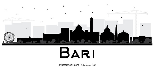Bari Italy City Skyline Silhouette with Black Buildings Isolated on White. Vector Illustration. Business Travel and Tourism Concept with Modern Architecture. Bari Cityscape with Landmarks.