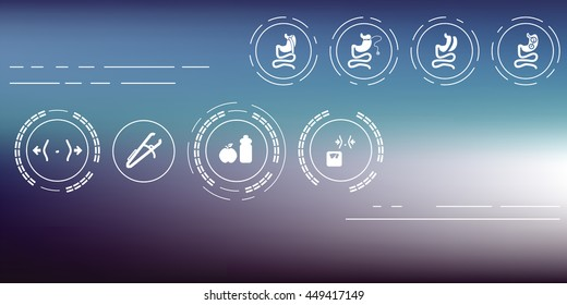 bariatric surgery icons set including gastric bypass balloon band sleeve gastrectomy on the hi-tech blurred background