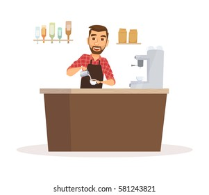 Barista in apron in coffee shop pouring milk into a cup. Hipster waiter in uniform. Happy cafeteria worker making beverage. Cartoon restaurant staff