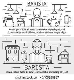 Barista banner set. Outline set of barista vector banner for web design