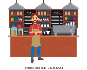 Barista in a cafe interior. Design of coffee shop, coffee bar. Vector illustration in flat style