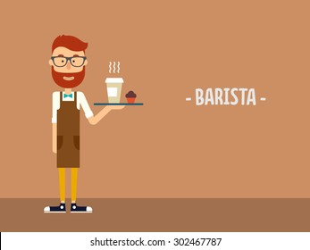 Barista carries a coffee on a tray. Flat illustration. Vector stock.