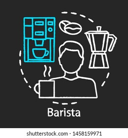 Barista chalk icon. Coffeehouse employee, bartender. Coffee maker. Barista equipment,  espresso machine. Coffee brewing household kitchen equipment. Isolated vector chalkboard illustration