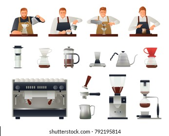 Barista and coffee equipment gradient set with coffee beans flat isolated vector illustration