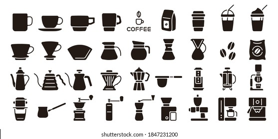 Barista and Coffee Icon Set (Flat Silhouette Version)