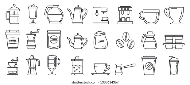 Barista coffee icons set. Outline set of barista coffee vector icons for web design isolated on white background