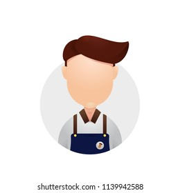 Barista coffeshop coffeehouse avatar head face plain icon illustration