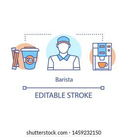 Barista concept icon. Coffeehouse employee, bartender idea thin line illustration. Coffee maker. Barista equipment, espresso machine. Coffee brewing. Vector isolated outline drawing. Editable stroke