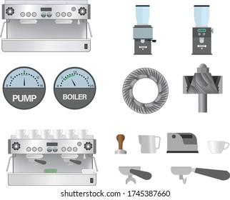 Barista equipment: Espresso Machine, grinders, burs...