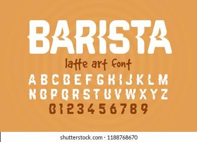 Barista, latte art font design, milk coffee foam art alphabet letters and numbers vector illustration