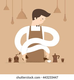 Barista is making coffee in cafe.Vector illustration design, restaurant, food and beverage