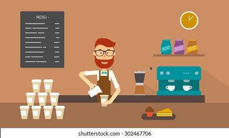 Barista making a coffee to go at the counter of a coffee shop. Flat illustration. Vector stock.