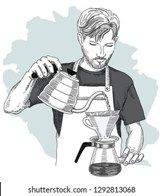 Barista making pour over brewing coffee. Hand drawing vector illustration. V60 dripper.