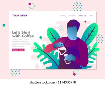 barista Pouring Coffee Illustration for landing page