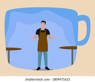 A barista or restaurant waiters in a coffee shop