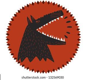 barking dog ind round label