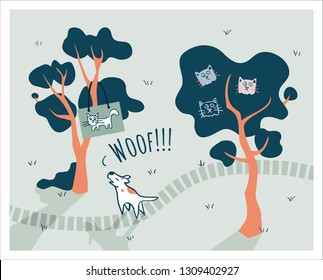 Barking up the wrong tree illustration of proverb, idiom