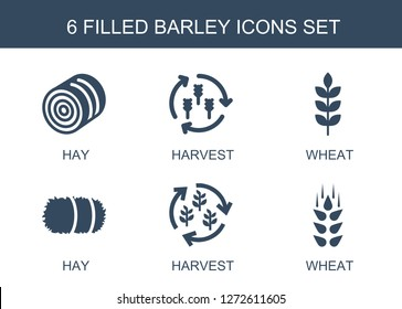 barley icons. Trendy 6 barley icons. Contain icons such as hay, harvest, wheat. barley icon for web and mobile.