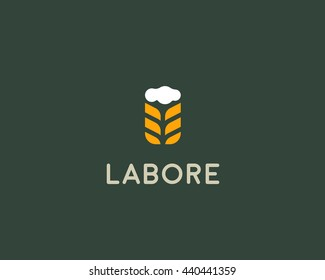 Barley wheat ears brewery logotype. Mug with foam beer idea vector logo design template. Pub modern symbol.
