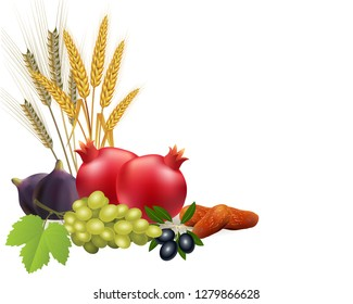 barley, wheat, grapes, pomegranates, olives, dates and figs without background. Clip art