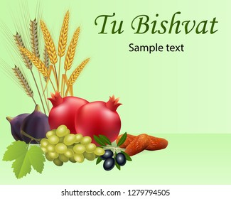"""barley, wheat, pomegranate, figs, grapes, olives and dates for the Jewish holiday """" Tu Bishvat"""" (new year of the trees)"""