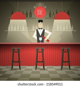 Barman in the bar vector illustration.