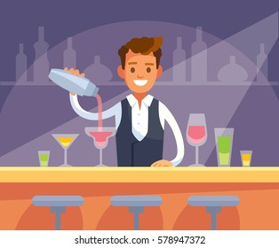 Barman with drinks