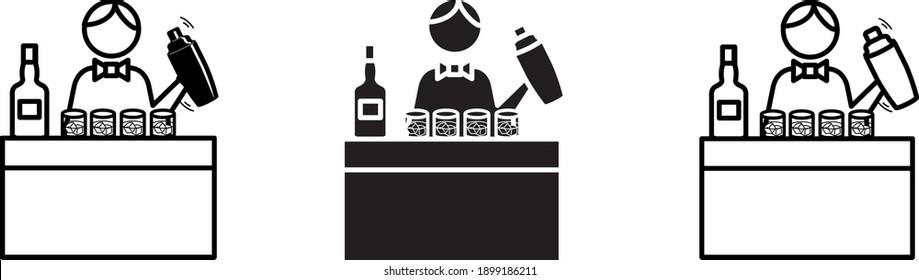 barman icon, vector line illustration