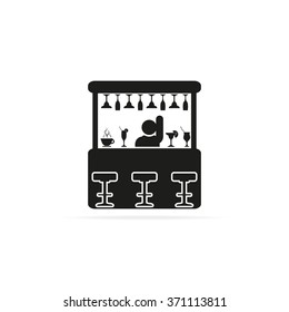 Barman illustration. Bar flat vector icon.