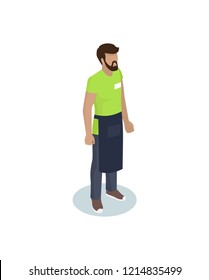 Barmen or waiter in working overall with cover-slut and identity card isometric personage. Vector realistic miniature worker in standing pose isolated
