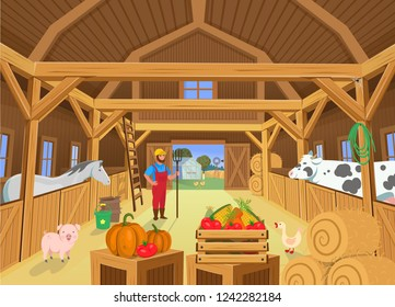 A barn with animals and farmer, view inside. Vector illustration in cartoon style