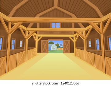 A barn for farm animals, view inside. Vector illustration in cartoon style