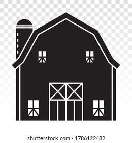Barn or farm house with pole barns flat icon for apps or websites