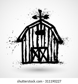 Barn grunge house icon or sign isolated on white background. Vector illustration.